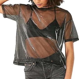Women's Sexy Metallic Shimmer Mesh Tee Short Sleeve See Through Blouse Tops Tee Shirt (Blue L)