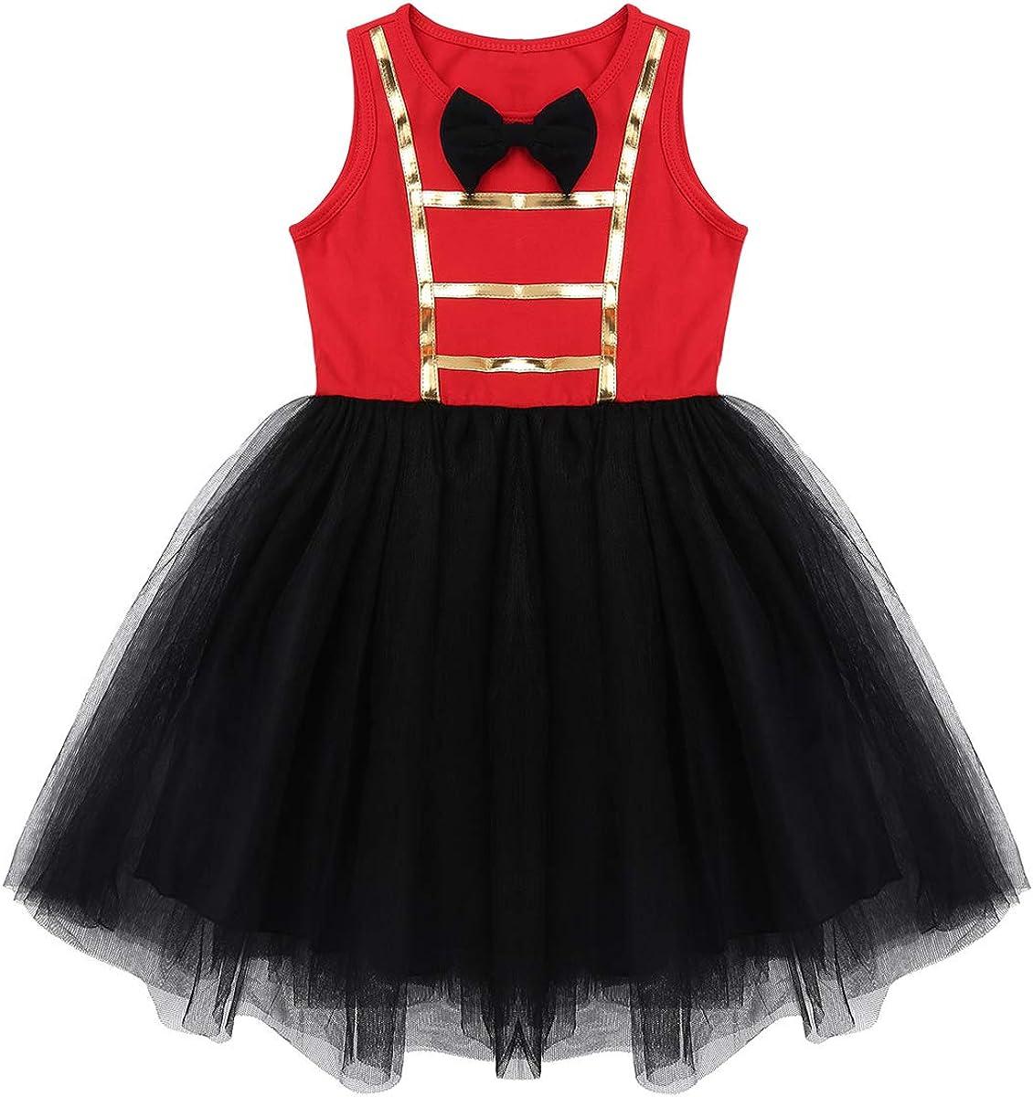 Moggemol Girls Ringmaster Circus Show Tassel Bowknot Tutu Dress with Steampunk Hat Festival Dancewear