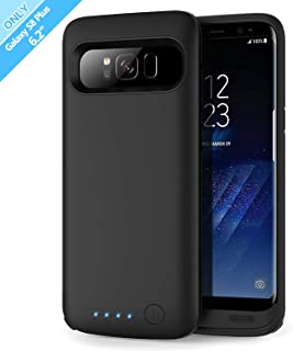 Battery Case for Galaxy S8 Plus 6500mah, Rechargeable Charging CaseforSamsung GalaxyS8 Plus Backup Power Case Samsung S8+ Battery Cover-Black