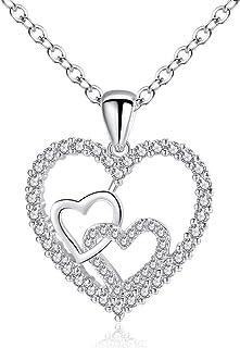 Collana da donna, collana con pendente a doppio cuore, collana con cuore lucido, confezione raffinata, regalo di San Valen...