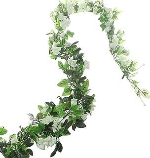 BlueXP 2 Unidades 230cm Guirnalda de Rosas Artificiales con Hojas Verdes Hiedra de Seda Plantas Colgantes para Colgar Decoración Boda Arco Cercas Hogar Navidad Interior Partido-Blanco