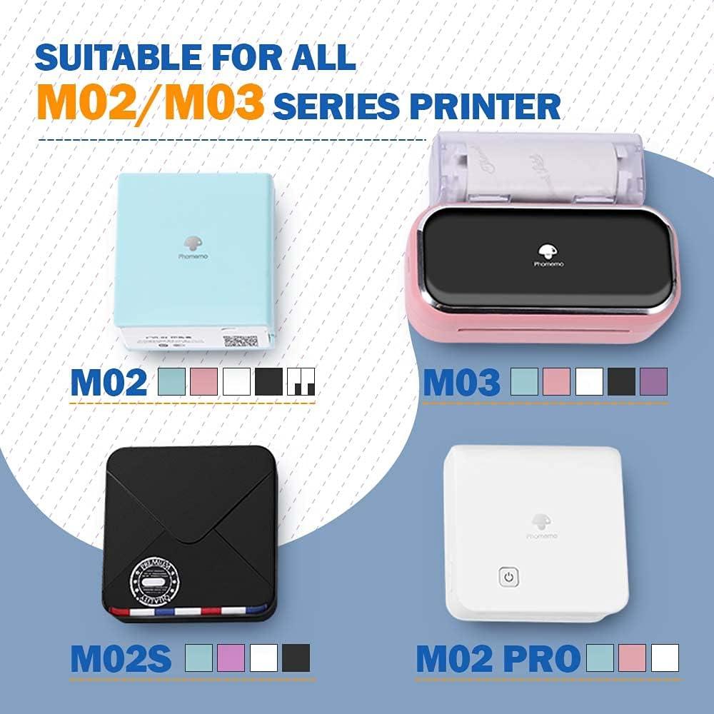Phomemo White Self-Adhesive Thermal Paper, Glossy White Sticker Paper M02/M02 Pro/M02S/M03 Bluetooth Pocket Mobile Printer, 50mm x 3.5m, Diameter 30mm, 3-Rolls