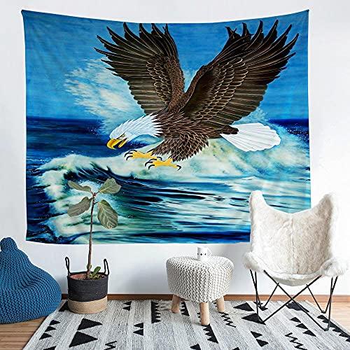 ZJFHNB Tapisserie 3D Tiere und Adler Wandteppich Wandbehang Wandtuch Tuch Yoga Mat Tagesdecke Bettdecke für Schlafzimmer Wohnzimmer Wohnheim 51ʺ x 59ʺ/130 x 150cm