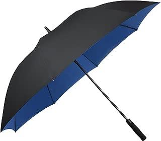 Asika 長傘 紳士傘 メンズ 二重構造 耐風 撥水 UVカット 高強度グラスファイバー 大きい ゴルフ ビジネス 車 晴雨兼用 おしゃれ (ブルー)
