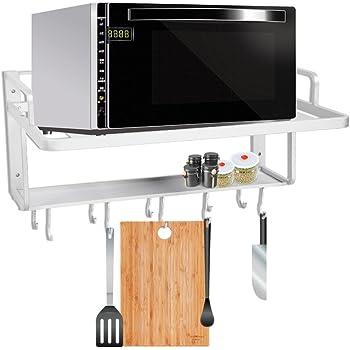 Estante de horno para microondas, estante de aluminio para colgar en la pared, doble capa, para microondas, horno, cocina, estante de almacenamiento, organizador, 55 x 38,5 x 25 cm: Amazon.es: Hogar