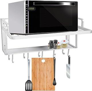 Rejilla de horno para microondas, de aluminio, estantería de pared, estantería de cocina, estantería de cocina, soporte organizador de almacenamiento para horno de microondas, con ganchos, 2 niveles