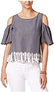Women's Tie-dyed Cold-shoulder Blouse Shirt Top