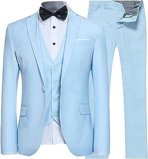 EHOMEBUY Men's Regular Fit Business Suits 3-Piece Suit Jacket Suit Trousers Vest