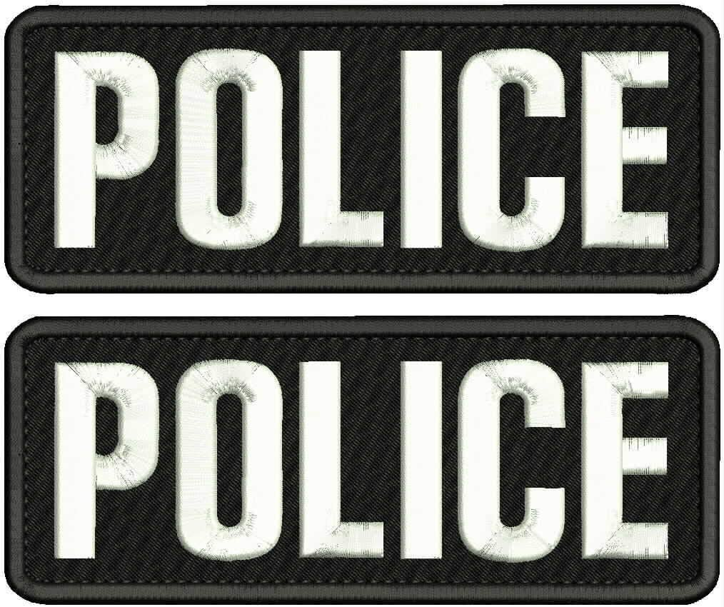 Police 2 Embroidery Patches 3X8 Hook ON Back BLKCK/White
