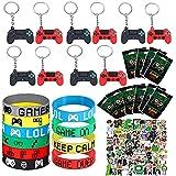 Il set di bomboniere per videogiochi include 10 braccialetti e 10 portachiavi, 10 sacchetti per feste di compleanno per giocatori, accessori per feste di compleanno