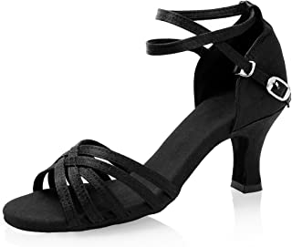 GetMine Women's Professional Latin Dance Shoes Satin Salsa Ballroom Wedding Dancing Shoes 2.4'' Heel