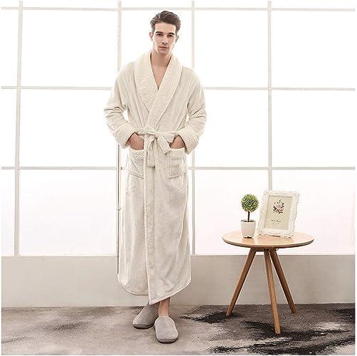 OMFGOD Hommes's Hiver Peignoir Mode Loisirs Flanelle Pyjamas Solide épaisseur Long Robe de Nuit Blanc