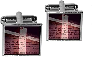 Cross and Bible Verse John 3-16 For God So Loved the World Square Cufflink Set - Silver