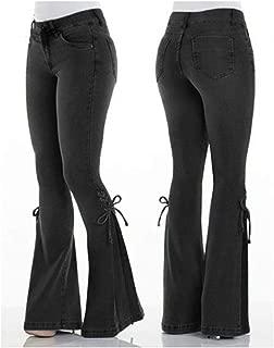 2019 hot Ladies Jeans mid Rise Belt Denim Trousers Stretch Jeans