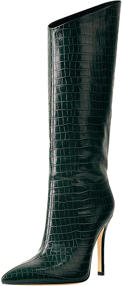 LISHAN Mid Calf High Heel Stiletto Green Boots for Women