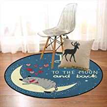 I Love You Children's Bedroom Carpet Sleepy Cat Holding Hearts Over The Moon at Night Sky Soft Fluffy D39.7 Inch Slate Blue Warm Taupe Pale Yellow