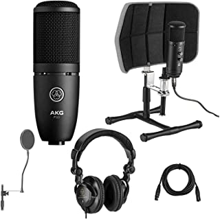 AKG Acoustics Project Studio P120 Medium Diaphragm Cardioid Microphone,Black - Bundle with Desktop Isolation Filter (Gray), Studio Monitor Headphones, 15' XLR M F Mic Cable, On-Stage Pop Blocker