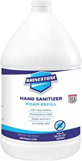 Rhinestone Foaming Hand Sanitizer, 1 Gallon Refill Bottle, 66% Ethyl Alcohol, Unscented, Made in USA, 128 Fl Oz./3.79L, Fa...