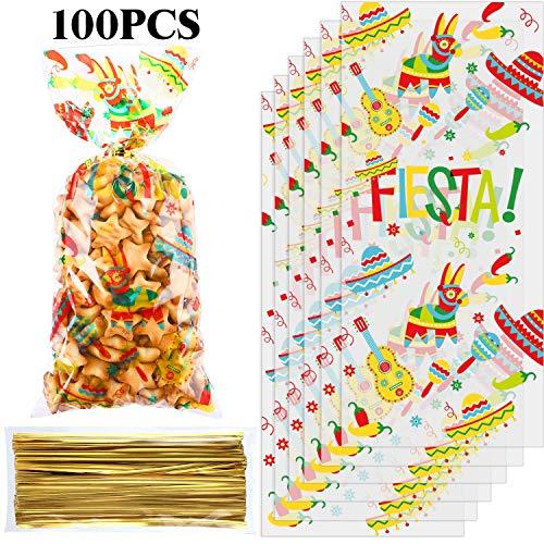 100 Stück Mexikanische Fiesta Zellophan Treat Tasche, Cinco De Mayo Themen Party Gefallen Tasche Plastik Süßigkeiten Tasche Goodie Geschenk Tasche Taco Bar Dekor mit 100 Gold Twist Krawatten