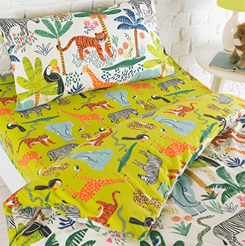 Riva Home JUNGLETASTIC Toddler FIT SHT MUL, Polycotton, Grün, (120x150cm)