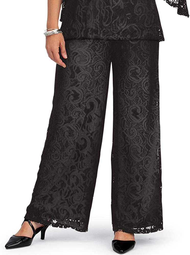 Elegant Wide Leg Lined Lace Pants with Elastic Waistband