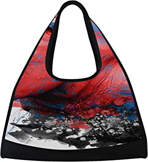 JGYJF Rhinoceros Abstract Paint On White Custom Tennis Racquet Bag Fitness Bag Tennis Totes with Pockets Womens Tennis Racket Bag Racquet Shoulder Bag for Sport Travel Shopping