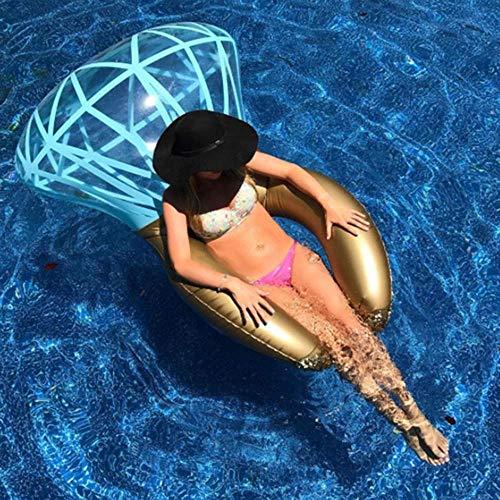 QIXIAOCYB Anillo de natación Inflable Piscina Juguetes Verano Protección Ambiental PVC Nuevo Anillo Diamante Gema Diamante Agua Inflaje Flotante Fila Ocio Playa Playa Playa Natación Adulto Camas Flota