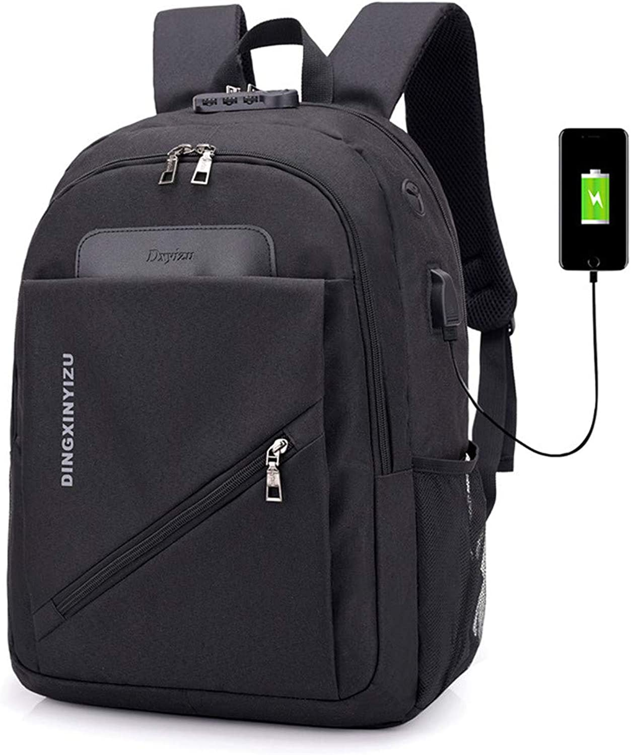 Large Capacity Backpack Anti-Theft Lock for Men Laptop Backpack Computer for Business Work Travel with USB Charging Port&Headphone Interface Fits Water Resistant