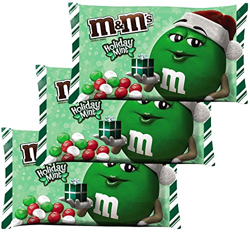 M&M's Mint Chocolate, Holiday Mint Red, Green and White Candies, 9.2 Ounce Bags 3 Pack