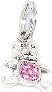 Solid 925 Sterling Silver Dangling Teddy Bear with Pink Crystals Charm Bead for European Snake Chain Bracelets