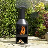 Kingfisher FPIT3 Black Steel Burner with Built in Log Store <span class='highlight'>Outdoor</span> Garden <span class='highlight'>Furniture</span>, Transparent, One Size