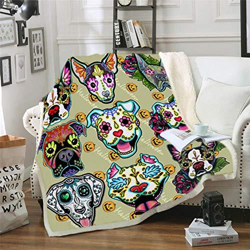 LIFUQING DIY Impreso Cráneo Perro 3D Impreso Franela Hotel Hogar Sofá Decoración Primavera Y Otoño Suave Y Cálida Cubierta-150x200cm