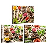 iKNOW FOTO 3pcs Spices Kitchen Picture Wall Art Canvas Print Artwork Canvas Paintings for Dining Room Restaurant Wall Decor Home Decoration 12x16inchx3pcs