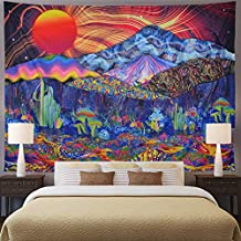 Trippy Mountain Tapestry Psychedelic Sun Tapestry Colorful Mushroom Tapestry Hippie Waves Abstract Tapestry Wall Hanging for Living Room