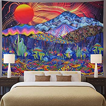Trippy Tapestry Mountain Tapestry Psychedelic Sun Tapestry Colorful Mushroom Tapestry Hippie Waves Abstract Wall Tapestry for Bedroom Living Room