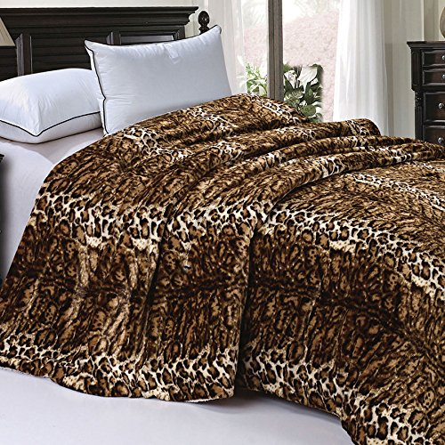 "BOON Soft and Thick Faux Fur Sherpa Backing Bed Blanket, ML Leopard, 84"" x 92"""