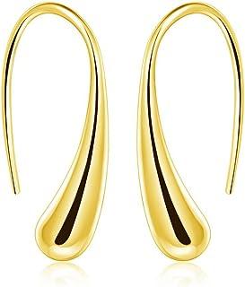 ARMRA Fashion Classic Silver Thread Drop Earrings Teardrop Back Earrings (1 Pair)