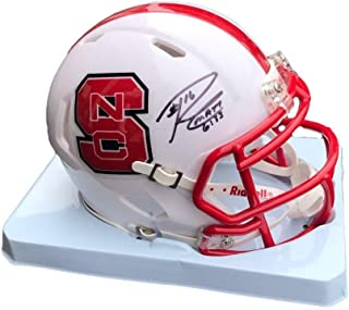 Russell Wilson Nc State Wolfpack Signed Mini Helmet Beckett BAS - Beckett Authentication - Autographed College Mini Helmets