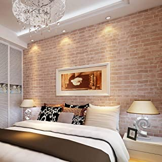 3D Modern Wallpaper, Modern Faux Brick Stone Textured Wallpaper,3D Brick Blocks Vintage Wallpaper for Home Design and Room Decoration