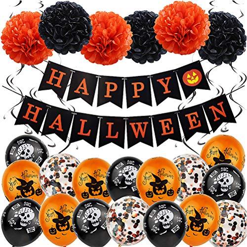 Halloween Globos Set - WENTS Decoraciones con globos de Halloween Kit de Decoración de Fiesta para Fiestas de Halloween Pancarta de Feliz Halloween Globos de Látex Decoraciones de Fiesta