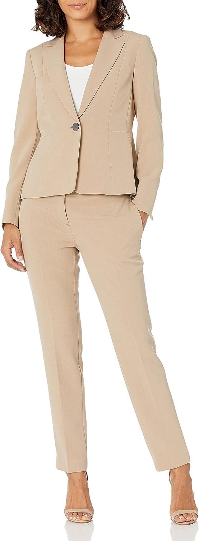 Le Suit Women's Crepe 1 Button Notch Lapel Jacket with Waist Seam & Slim Pant