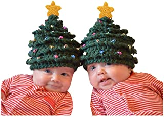 Vincent & September Knit Hat Winter Hat Christmas Tree Green Stars Knit Hat Cap Toddler Kid Girl Boy Baby 2-8T