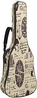 EGGDIOQ Guitar Bag Nautical Symbols With Blots And Stains Gig Bag Dual Adjustable Shoulder Strap & Pocket Acoustic Guitar ...