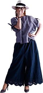 [ゴールドジャパン] 大きいサイズ レディース 裾 スカラップ コットン ガウチョ パンツ ロング スカーチョ