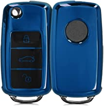 JVCV® Car Key Cover Compatible with Volkswagen Folding Key (Blue)