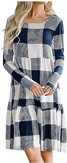 New Plaids Irregular Hem Casual Shirt Dress,QueenMM Casual Long Sleeve Loose Checkered Plaid Swing Tunic T-Shirt Dress