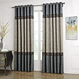 Dreaming Casa Solid Curtains Polyester Window Treatment 2 Tone Stitching Design Luxury Style Grey 1 Panel 52' W x 96' L