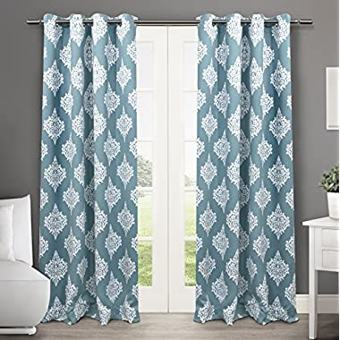 Exclusive Home Medallion Blackout Window Curtain Panel Pair with Grommet Top, Teal, 52x84, 2 Piece