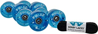 Devaskation Atom Pulse Blue Outdoor Quad Skating Wheels (8 Pack), RollerBones Bearings (Already Installed) Derby Laces - 3 Item Bundle