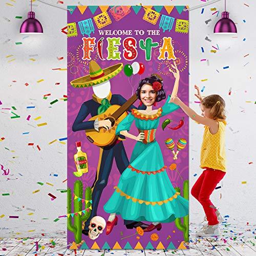 Blulu Pancarta de Puerta Foto de Pareja de Fiesta, Fondo de Foto de Tela Grande, Materiales de Juegos de Fiesta Divertidos para Festival Temático Mexicano, 6 x 3 Pies